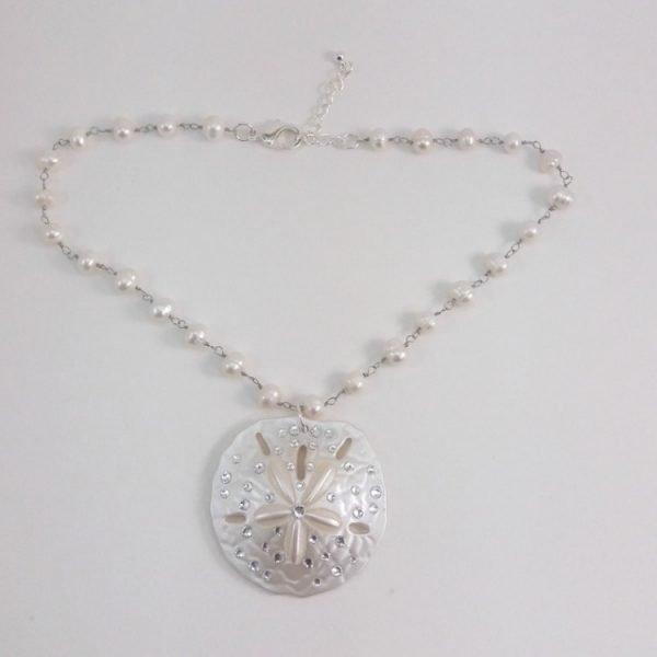 18 inch sand dollar fresh water pearl necklace small